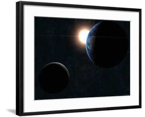 Earth, Moon and the Sun-Stocktrek Images-Framed Art Print