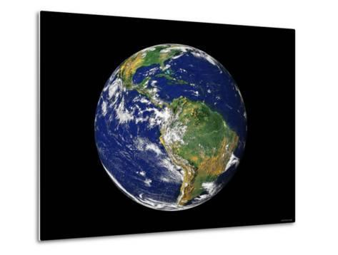 Full Earth Showing South America-Stocktrek Images-Metal Print