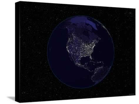Earth Centered on Northamerica-Stocktrek Images-Stretched Canvas Print