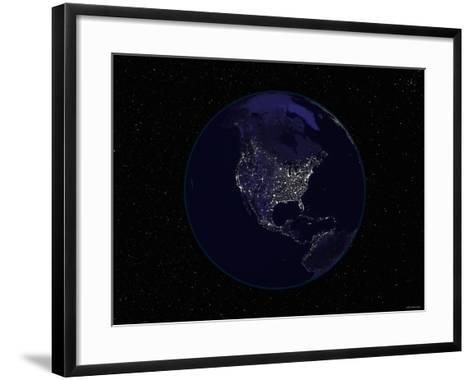Earth Centered on Northamerica-Stocktrek Images-Framed Art Print