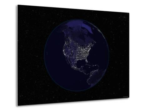 Earth Centered on Northamerica-Stocktrek Images-Metal Print