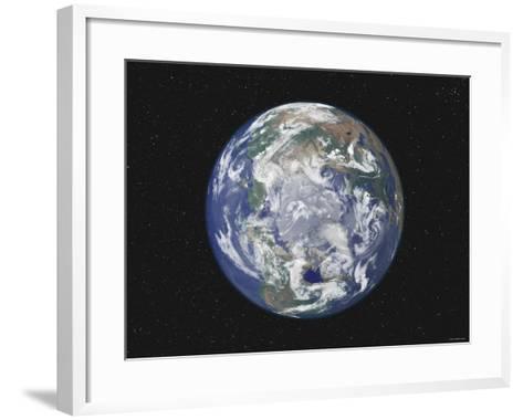 Earth Centered on the North Pole-Stocktrek Images-Framed Art Print