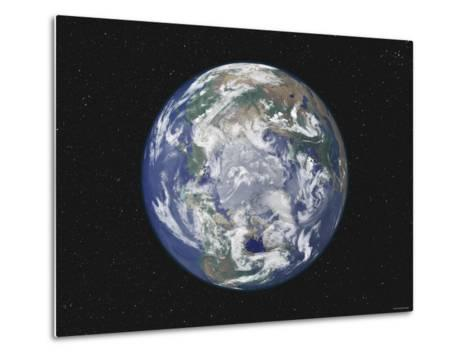Earth Centered on the North Pole-Stocktrek Images-Metal Print