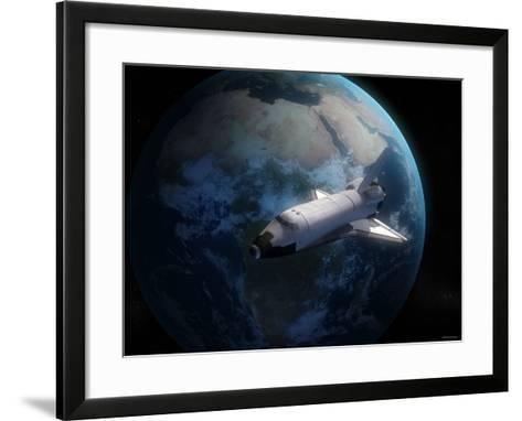 Space Shuttle Backdropped Against Earth-Stocktrek Images-Framed Art Print