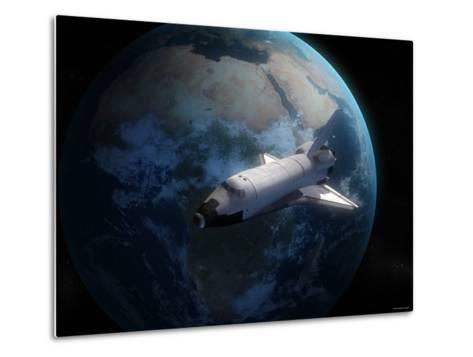 Space Shuttle Backdropped Against Earth-Stocktrek Images-Metal Print