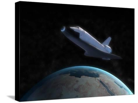 Space Shuttle Backdropped Against Earth-Stocktrek Images-Stretched Canvas Print