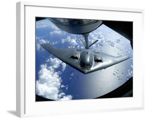 A B-2 Spirit Moves into Position for Refueling from a KC-135 Stratotanker Over the Pacific Ocean-Stocktrek Images-Framed Art Print