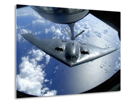 A B-2 Spirit Moves into Position for Refueling from a KC-135 Stratotanker Over the Pacific Ocean-Stocktrek Images-Metal Print