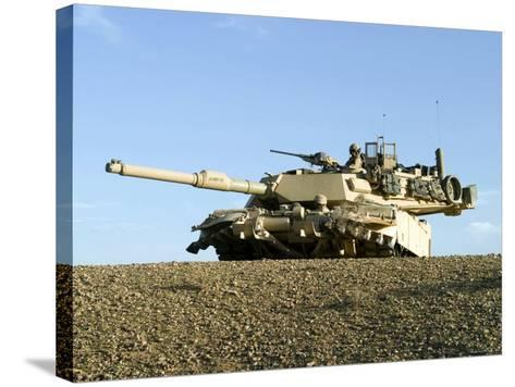 US Marines Provide Security in an M1A1 Abrams Tank-Stocktrek Images-Stretched Canvas Print