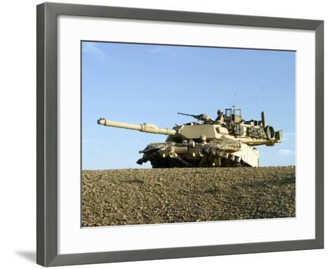US Marines Provide Security in an M1A1 Abrams Tank-Stocktrek Images-Framed Art Print