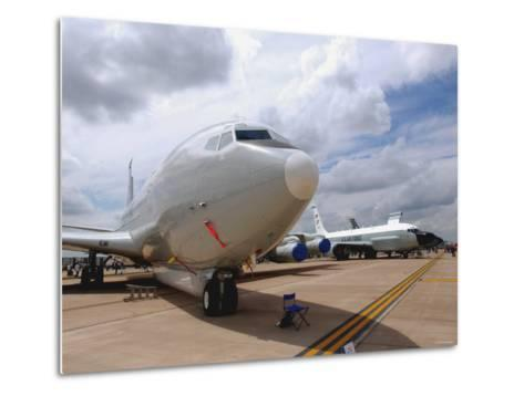 E-8C Joint Surveillance Target Attack Radar System and a RC-135V/W Rivet Joint Aircraft-Stocktrek Images-Metal Print