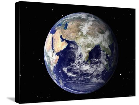 Full Earth Showing Europe and Asia (With Stars)-Stocktrek Images-Stretched Canvas Print