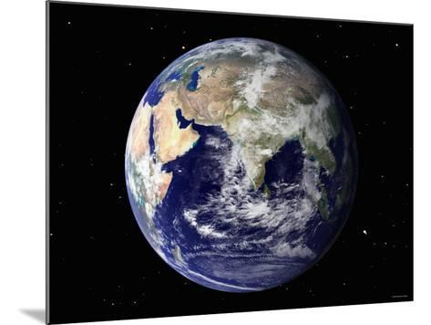 Full Earth Showing Europe and Asia (With Stars)-Stocktrek Images-Mounted Photographic Print