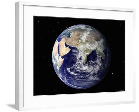 Full Earth Showing Europe and Asia (With Stars)-Stocktrek Images-Framed Art Print