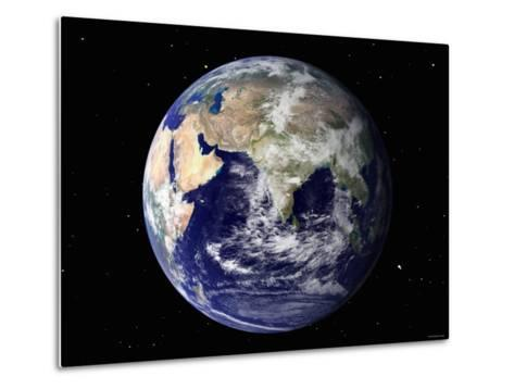Full Earth Showing Europe and Asia (With Stars)-Stocktrek Images-Metal Print