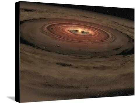 This Artist's Concept Shows a Brown Dwarf Surrounded by a Swirling Disk of Planet-Building Dust-Stocktrek Images-Stretched Canvas Print