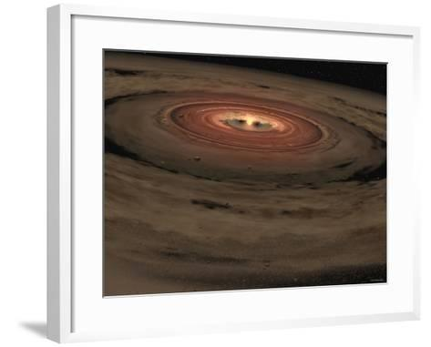 This Artist's Concept Shows a Brown Dwarf Surrounded by a Swirling Disk of Planet-Building Dust-Stocktrek Images-Framed Art Print