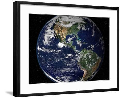 True Color Image Showing North and South America as They Would Appear from 35,000 Km Above Earth-Stocktrek Images-Framed Art Print