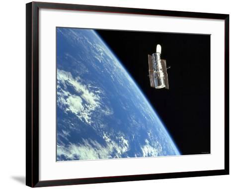 The Hubble Space Telescope with a Blue Earth in the Background-Stocktrek Images-Framed Art Print