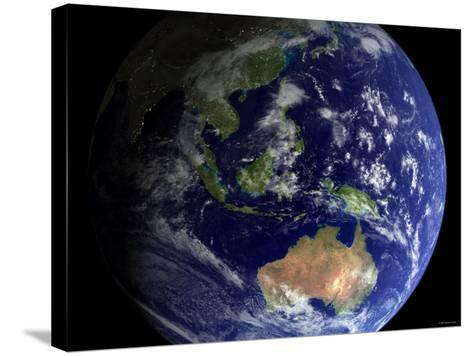 Full Earth from Space Showing Australia-Stocktrek Images-Stretched Canvas Print