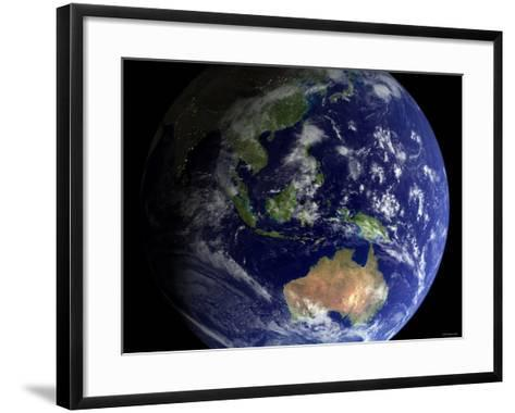 Full Earth from Space Showing Australia-Stocktrek Images-Framed Art Print