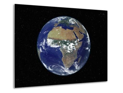 Full Earth Showing Africa, Europe During Day, 2001-08-07-Stocktrek Images-Metal Print