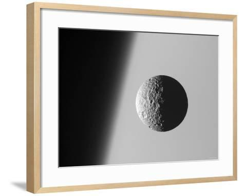 This Amazing Perspective View Captures Battered Moon Mimas Against the Hazy Limb of Planet Saturn-Stocktrek Images-Framed Art Print