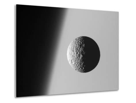 This Amazing Perspective View Captures Battered Moon Mimas Against the Hazy Limb of Planet Saturn-Stocktrek Images-Metal Print
