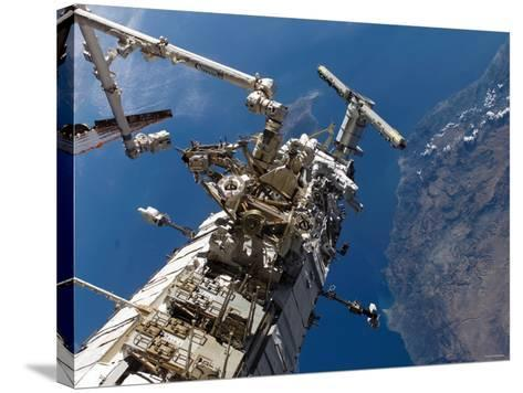 Astronauts Representing the Canadian Space Agency, Participate in a Spacewalk-Stocktrek Images-Stretched Canvas Print