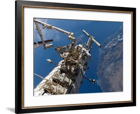 Astronauts Representing the Canadian Space Agency, Participate in a Spacewalk-Stocktrek Images-Framed Art Print