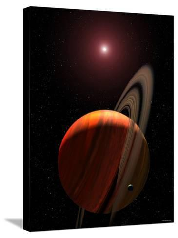 Artist's Concept of a Gas Giant Planet Orbiting a Red Dwarf K Star-Stocktrek Images-Stretched Canvas Print