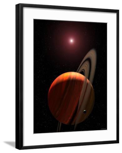 Artist's Concept of a Gas Giant Planet Orbiting a Red Dwarf K Star-Stocktrek Images-Framed Art Print