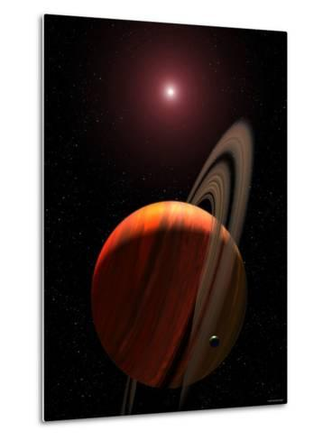 Artist's Concept of a Gas Giant Planet Orbiting a Red Dwarf K Star-Stocktrek Images-Metal Print