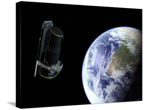 Spitzer Departing the Earth Soon after Launch, Africa is Prominently Visible-Stocktrek Images-Stretched Canvas Print