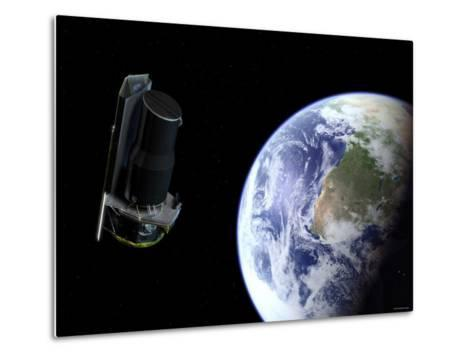 Spitzer Departing the Earth Soon after Launch, Africa is Prominently Visible-Stocktrek Images-Metal Print