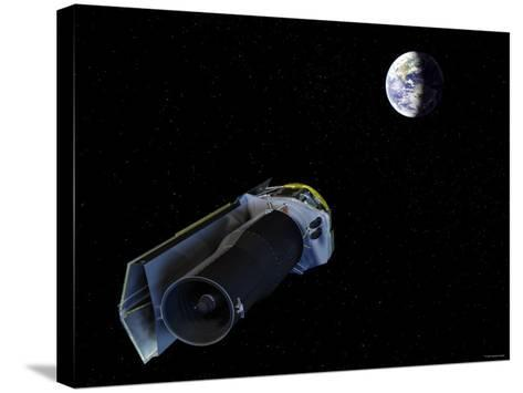 Spitzer Points Its High-Gain Antenna Towards the Earth for Downlinking and Uplinking Observations-Stocktrek Images-Stretched Canvas Print