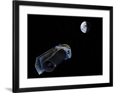 Spitzer Points Its High-Gain Antenna Towards the Earth for Downlinking and Uplinking Observations-Stocktrek Images-Framed Art Print