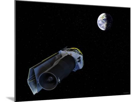 Spitzer Points Its High-Gain Antenna Towards the Earth for Downlinking and Uplinking Observations-Stocktrek Images-Mounted Photographic Print
