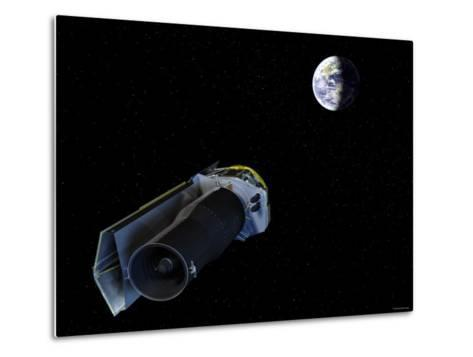 Spitzer Points Its High-Gain Antenna Towards the Earth for Downlinking and Uplinking Observations-Stocktrek Images-Metal Print