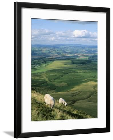 View North from Hay Bluff, with Distant Hay on Wye in Valley, Powys, Wales, United Kingdom-Richard Ashworth-Framed Art Print