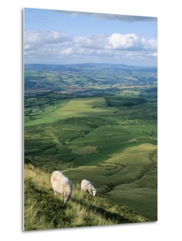 View North from Hay Bluff, with Distant Hay on Wye in Valley, Powys, Wales, United Kingdom-Richard Ashworth-Metal Print