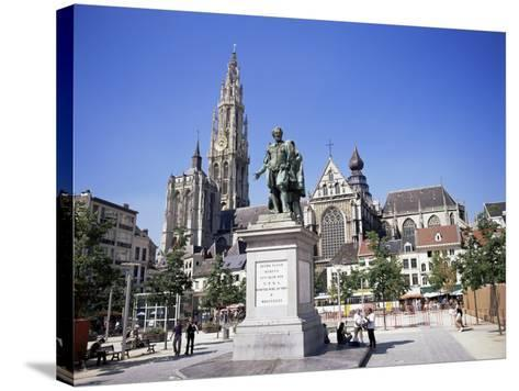 Statue of Rubens, Cathedral, and Groen Plaats, Antwerp, Belgium-Richard Ashworth-Stretched Canvas Print
