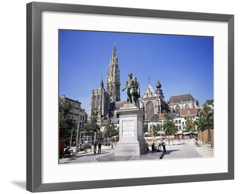 Statue of Rubens, Cathedral, and Groen Plaats, Antwerp, Belgium-Richard Ashworth-Framed Art Print
