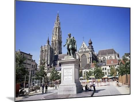 Statue of Rubens, Cathedral, and Groen Plaats, Antwerp, Belgium-Richard Ashworth-Mounted Photographic Print