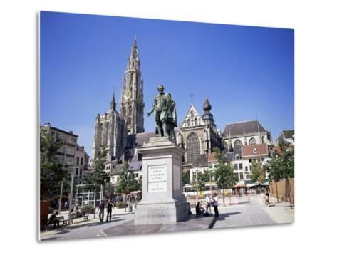 Statue of Rubens, Cathedral, and Groen Plaats, Antwerp, Belgium-Richard Ashworth-Metal Print