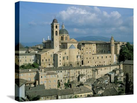 View from the North of the Old Centre of Urbino with the Cathedral Left and Palazzo Ducale Right-Richard Ashworth-Stretched Canvas Print