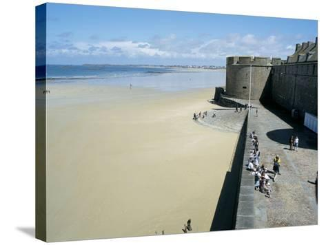 Ramparts of Old Town and Beach to the Northwest of St. Malo, Brittany, France-Richard Ashworth-Stretched Canvas Print