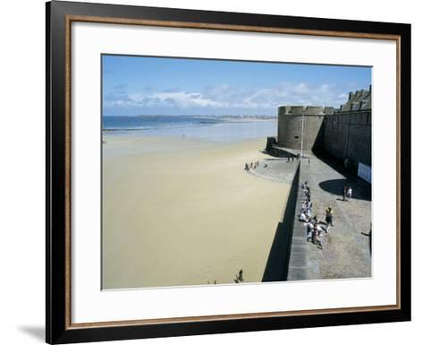 Ramparts of Old Town and Beach to the Northwest of St. Malo, Brittany, France-Richard Ashworth-Framed Art Print