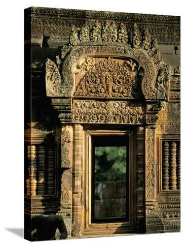 Finely Carved Doorway Within Temple of Banteay Srei, Founded in 967 AD, Angkor, Siem Reap-Richard Ashworth-Stretched Canvas Print