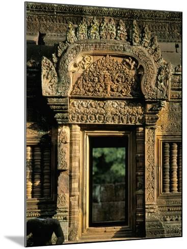 Finely Carved Doorway Within Temple of Banteay Srei, Founded in 967 AD, Angkor, Siem Reap-Richard Ashworth-Mounted Photographic Print